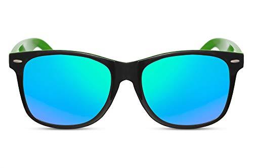 Cheapass Sonnenbrille Verspiegelt Schwarz-Glänzend Grün Zweifarbiger Rahmen UV-400 Plastik Damen Herren