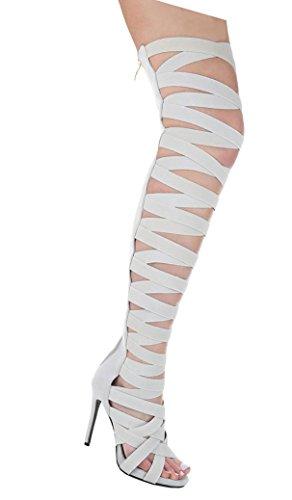 Damen Sandaletten Schuhe High Heels High Heels stiletto Sommer Stiefel Hellgrau