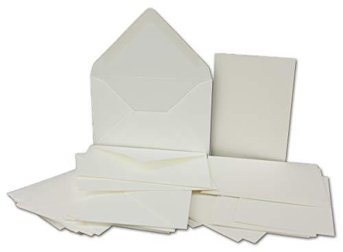 Einzelkarten Set mit Brief-Umschlägen DIN A6 / C6 in Naturweiß   25 Sets   14,8 x 10,5 cm   Premium Qualität   Serie FarbenFroh®