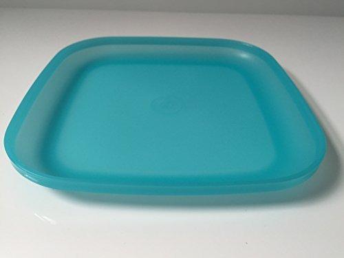 Tupperware Teller Picknick Plastikteller Picknickteller tief eckig verschiedene Farben (türkis)