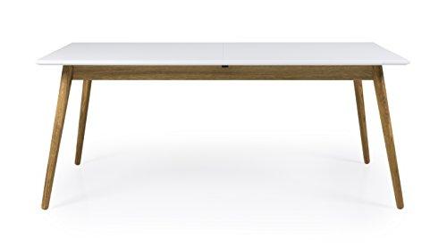 TENZO Dot Designer Table à Manger rectangulaire avec allonge Papillon MDF/Chêne Massif, Blanc, 180 x 90 x 75 cm
