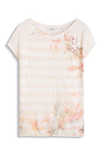 Esprit EDC 036CC1K019 - T-shirt - Imprimé - Manches courtes - Femme Ecru - Ecru