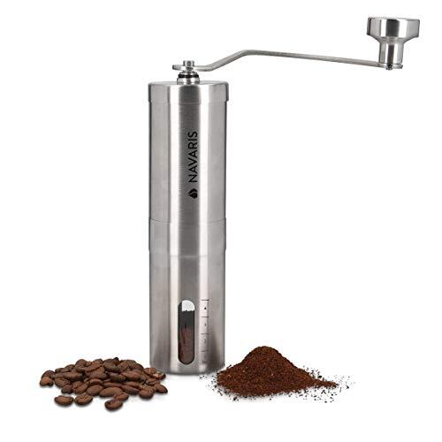 Navaris Molinillo de café Manual de Acero Inoxidable - con Amoladora de cerámica - Moledor Manual Regulable - para café Espresso Moca Cerveza