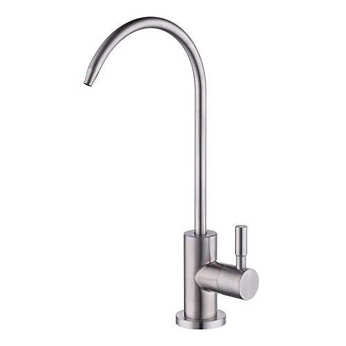 BOEN SS104 Bleifreier Trinkwasserhahn für Trinkwasser-Filtersystem 1/4-Zoll-Schlauch, Edelstahl gebürstet -