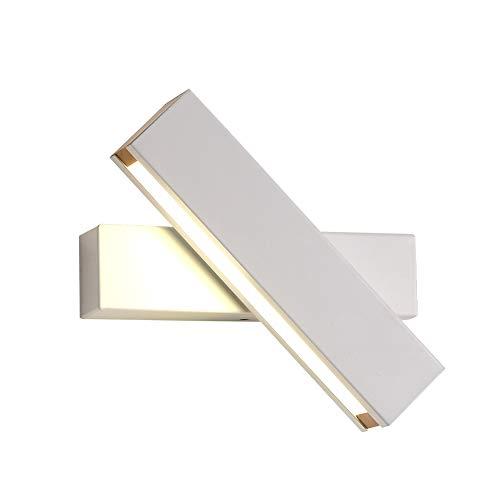 CARYS 6W LED Wandleuchte innen Dimmbar Wandlampe Holz Wandstrahler Wandbeleuchtung Beleuchtung Metall Drehbar Weiß Wand Lampe Leuchten für Schlafzimmer Korridor Flur treppen licht - Weiße Holz Wand