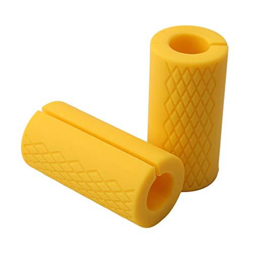 Pinhan 2 Stück Langhantel Hantelgriffe dicken Lenker Griffe Silikon Anti-Rutsch-Pad Training Gewichtheben Hantel Ball Handgriff, gelb -
