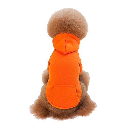 JYMDH Pet Dog Coat Welpen Kleider Hoodies Cat Sweater Kostüm,Orange,S