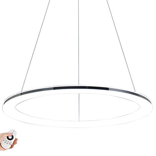 Moderne LED Ring-Pendelleuchte Dimmbar Design Edelstahl Pendellampe mit Fernbedienung Hängeleuchte Decken Lampe Höhenverstehbar für Wohnzimmer Schlafzimmer Esszimmer Büro,Chrom φ80CM 55W - Runde-tisch-kronleuchter