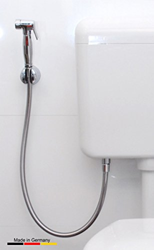 AnuGen WC-Hygienebrause AP runde Version, für nahezu jedes bestehende WC-System mit Kunststoffspülkasten inkl. Verbindungseinheit. Hier als Version für Aufputzspülkasten (nachrüstbar, oder auch bei Neuinstallation), Bidet, Armatur, Shataff, Brause, Intimdusche, Intimbrause, Taharat, Taharet