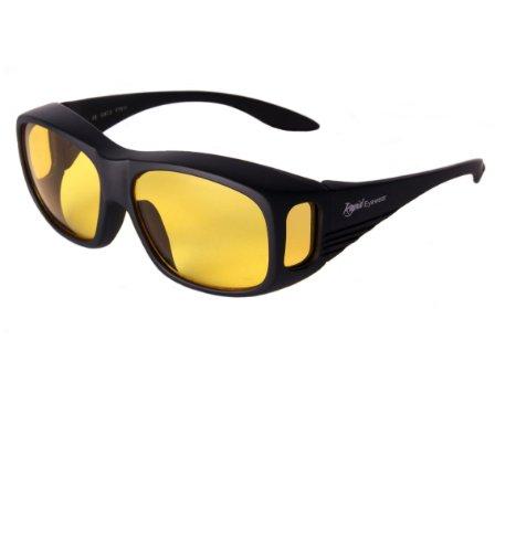 Rapid Eyewear schwarze NACHTBRILLE ZUM AUTOFAHREN. Überbrille. Gelb Linsen mit blendfrei Beschichtung. Damen und Herren Sonnenüberbrille für Auto