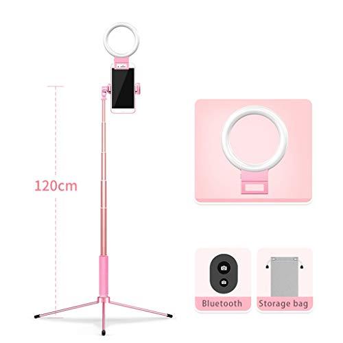 JIAX LED Ringlicht Mit Stativ Und Telefon-Halter for Selfie, Mit 3 Licht-Modi, Tragbares Reise-Dreieck Boden Selfie Stock, Einstellbare Farbtemperatur Warm (Color : Pink Style 4)