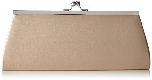 Berydale Damen Satin Handtasche, Clutch Schultertasche mit Zusatzkette und Metallbügel mit Schnappverschluss, Champagner