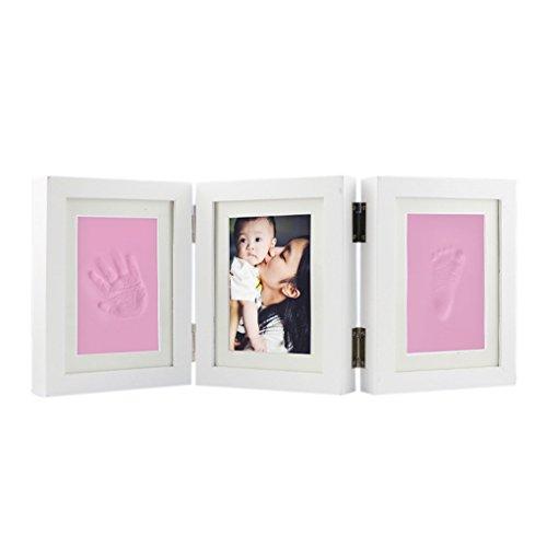 Preisvergleich Produktbild Baby Bilderrahmen, Fotorahmen, Babyset Fußabdruck Handabdruck Abdruckset Feierlichkeiten Weihnachten Taufen Geburtstage