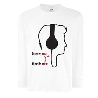 lepni.me N4526D T-shirt pour enfants avec des manches longues Music On! (3-4 years Blanc Multicolore)