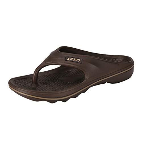 Alaso Chaussures Homme Infradito per piscina, uomo, scarpe da spiaggia estive, piatte, antiscivolo, suola spessa, punta aperta, comode, non costose marrone 42