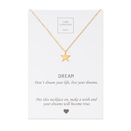 LUUK LIFESTYLE Edelstahl Halskette mit Stern Anhänger und Dream Spruchkarte, Glücksbringer, Damen Schmuck, gold