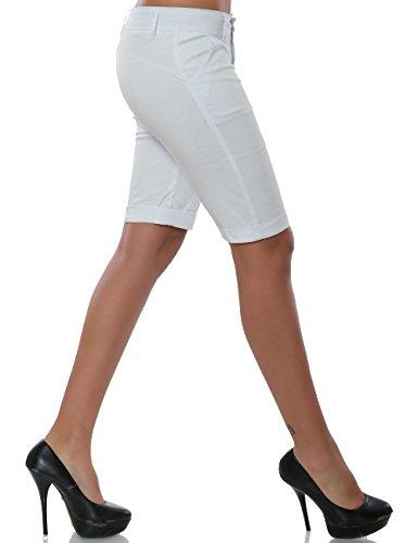 Damen Capri-Hose Sommerhose Kurze-Hosen weitere Farben No 15572 Weiß