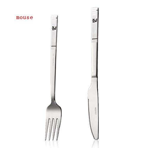 Couverts cuillère vaisselle Western, couteau à steak Western en acier inoxydable et de la fourchette couteau vaisselle pour enfants, couverts ménagers cuillère couverts Western cuillère ensemble,Rat,2
