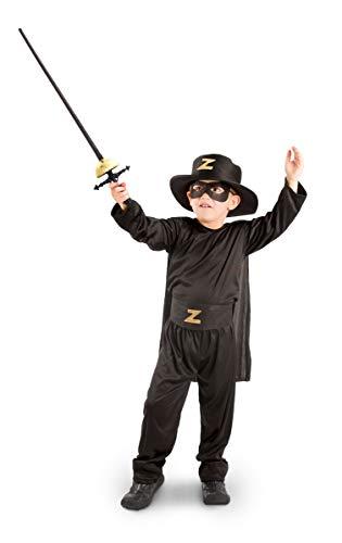 Kinder Zorro Kostüm - Folat 21895 Zorro-Kostüm, 5-teilig, Kinder Größe 116/134, Schwarz, 116-134 cm