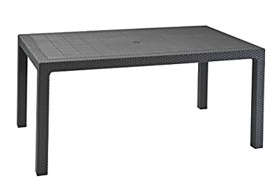Keter Melody Outdoor Garden Furniture Rectangular Patio Dining Table - Graphite