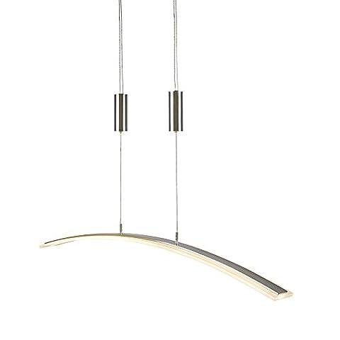 QAZQA Design / Modern / Esstisch / Esszimmer / Puristische Pendelleuchte / Pendellampe / Hängelampe / Lampe / Leuchte Challenger Stahl / Silber / nickel matt Höhenverstellbar / Innenbeleuchtung / Wohnzimmer / Schlafzimmer / Küche Metall Länglich inklusive LED (nicht austauschbare) LED Max. 1 x 20