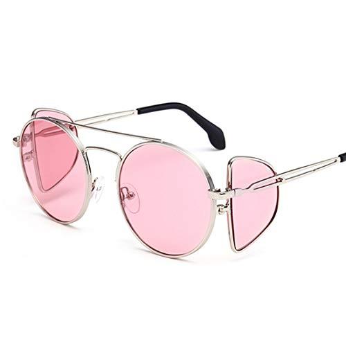 Windproof Personality Punk Style Sonnenbrillen für Frauen Metallrahmen umrandeten Sonnenbrillen Runde Klassische Unisex-Sonnenbrillen UV-Schutz Sonnenbrillen Sonnenbrillen Brille (Farbe : Rosa)
