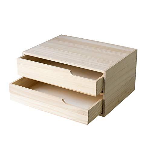 QARYYQ Massivholz Regal Desktop Aufbewahrungsbox Bücherregal Doppel Schublade Büro Datei Multifunktions Aufbewahrungsbox 32.6X24X16cm Bücherstand (Datei Schublade Bücherregal)