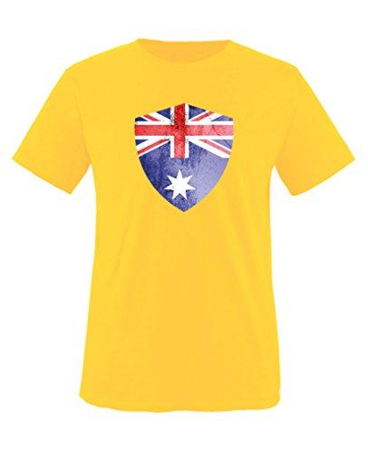 Comedy Shirts - Australien Trikot - Wappen: Groß - Wunsch - Kinder T-Shirt - Gelb/Dunkelgrün Gr. 110-116 - Australien Trikot