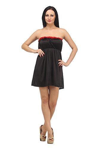 Klamotten Womens Satin Nightwear ,Black ,Free Size