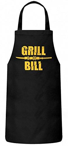 Shirt Happenz Grill Bill Schürze Grillen Barbecue BBQ Kochen & Backen Grillschürze, Farbe:Schwarz (Black PW102);Größe:60cm x 87cm -