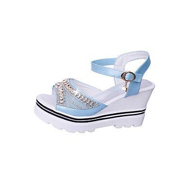 LvYuan Da donna Sandali Comoda Vernice Lustrini Primavera Estate Casual Formale Comoda Con diamantini Zeppa Bianco Blu Rosa 7,5 - 9,5 cm White