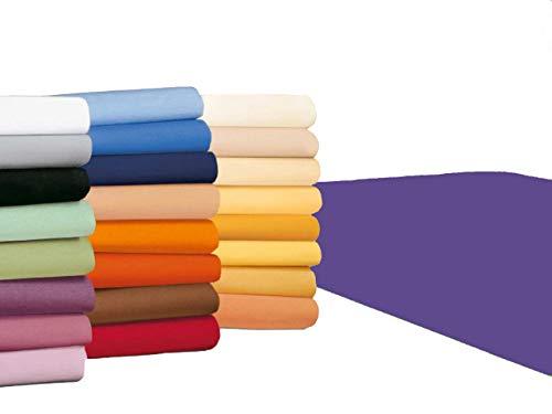 badtex24 Spannbettlaken 90 100 x 200 Spannbetttuch Bettlaken Jersey 100% Baumwolle 24 Farben Violett/Lila 90x190-100x200cm