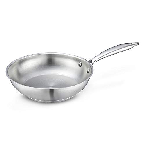 Eono Essentials Frying Pan Stainless Steel 20cm Small Induction Pan with Heat-Resistant Handle Anti Scratch Omelette Pan Skillet PFOA Free Dishwasher Oven Safe, JP-S-2050 Omelette Pan