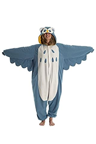 9fox Jumpsuit Tier Karton Fasching Halloween Kostüm Sleepsuit Cosplay Fleece-Overall Pyjama Schlafanzug Erwachsene Unisex Lounge Nachtwäsche S/M/L/XL (S, (Jumpsuit Kostüm)
