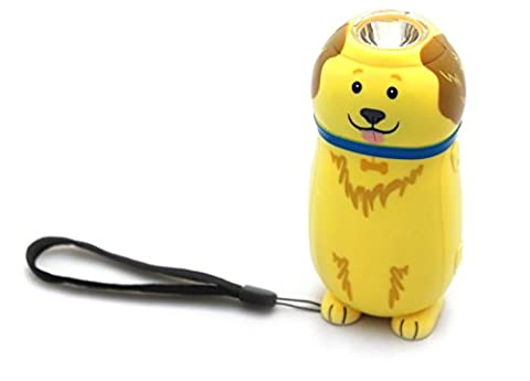 Squeeze Action Wind Up Rechargeable Dog Torch Flashlight For Children ~ Golden Retriever