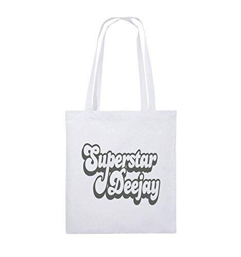 Borse Comedy - Deejay Superstar - Borsa Di Juta - Manico Lungo - 38x42cm - Colore: Nero / Rosa Bianco / Grigio