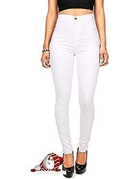 Hooleeger High Waist Jeans Damen Skinny Stretch Regular Fit Basic Jeanshose 838aeaf78f