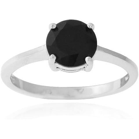1,65Ct in argento Sterling, con spinello, colore: nero, colore anello solitario
