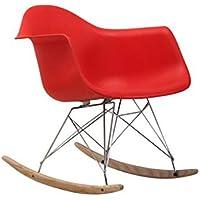 SUN HUIJIE Sillón Mecedora para el hogar Silla con balcón Casa de PP Silla de plástico Silla de Oficina (Color : Red)