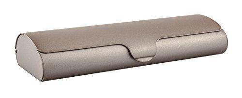 Flaches Brillenetui mit Aluminium-Außenschale und Schnappverschluß in verschiedenen Farben und Größen (Metallic-Braun)