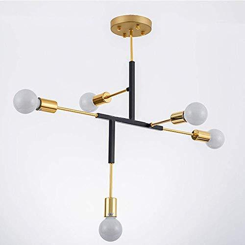 CHHQ 5-Light Sputnik Kronleuchter, Moderne Einfache Einstellbare Semi-Embedded Stitch Pendelleuchte für Wohnzimmer Schlafzimmer Restaurant (Schwarz + Gold) - Fünf Light Kronleuchter Lampe