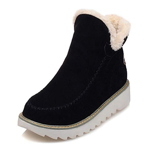 060626704b3 Botas de Nieve Mujer otoño Invierno Redondo Caliente Zapatos Botines Felpa  Antideslizante de Pisos en cuñas