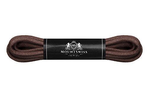 Cordones Mount Swiss Luxury encerados y redondos para zapatos de traje y de piel, 2 - 3mm de diámetro, 45 - 120cm de longitud, color Marrón, talla 75 cm