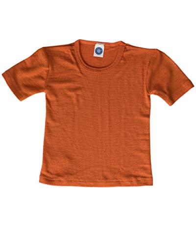 Cosilana, Kinder Unterhemd/T-Shirt, 70% Wolle und 30% Seide (116, Safran Orange) - Kurzarm Seide Herren Shirts