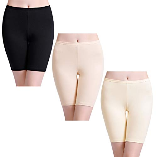 wirarpa Shorty Long Boxer Femme Jambes Longues Anti-Friction Cycliste Coton Lot de 3 Culotte Short Legging Invisible Taille L