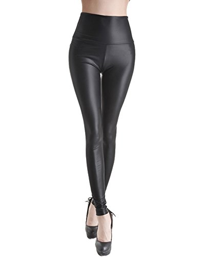 Femmes Brillant Leggings Effet Mouillé Faux Cuir Legging Pleine Longueur Noir Y