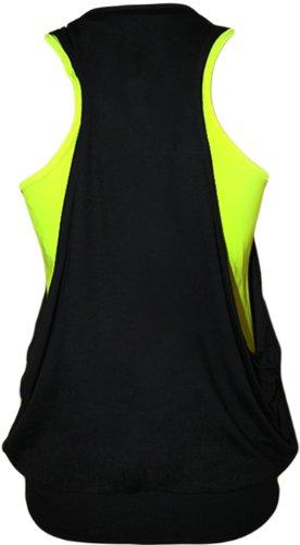 WearAll - Haut fluorescent et brillant avec deux couches et un collier - Hauts - Femmes - Tailles 36 à 42 Jaune Fluorescent
