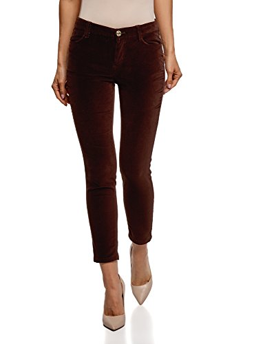 oodji Ultra Donna Pantaloni Aderenti in Velluto, Marrone, IT 42 / EU 38 / S