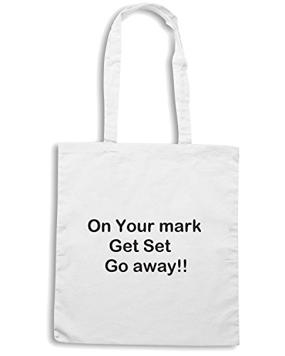 T-Shirtshock - Borsa Shopping TDM00205 on your mark get set go away Bianco