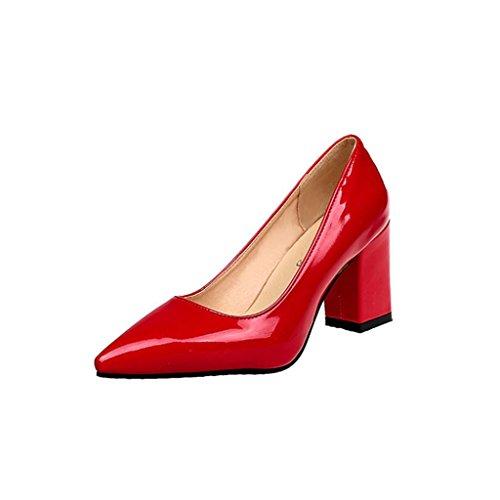 ¡Oferta de liquidación de Covermason! Zapatos de tacón cuadrado de moda para mujeres de tacón bajo Zapatos de tacón alto poco profundos(40 EU, rojo)